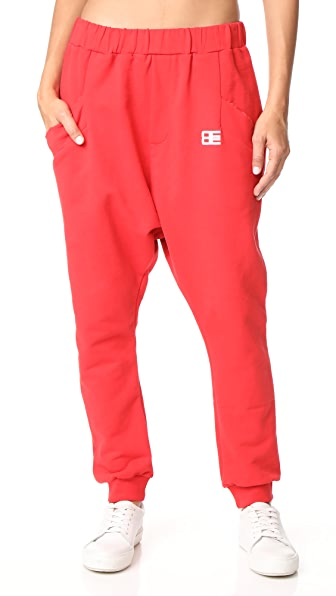 Baja East Harem Pants with Logo Embroidery In Red
