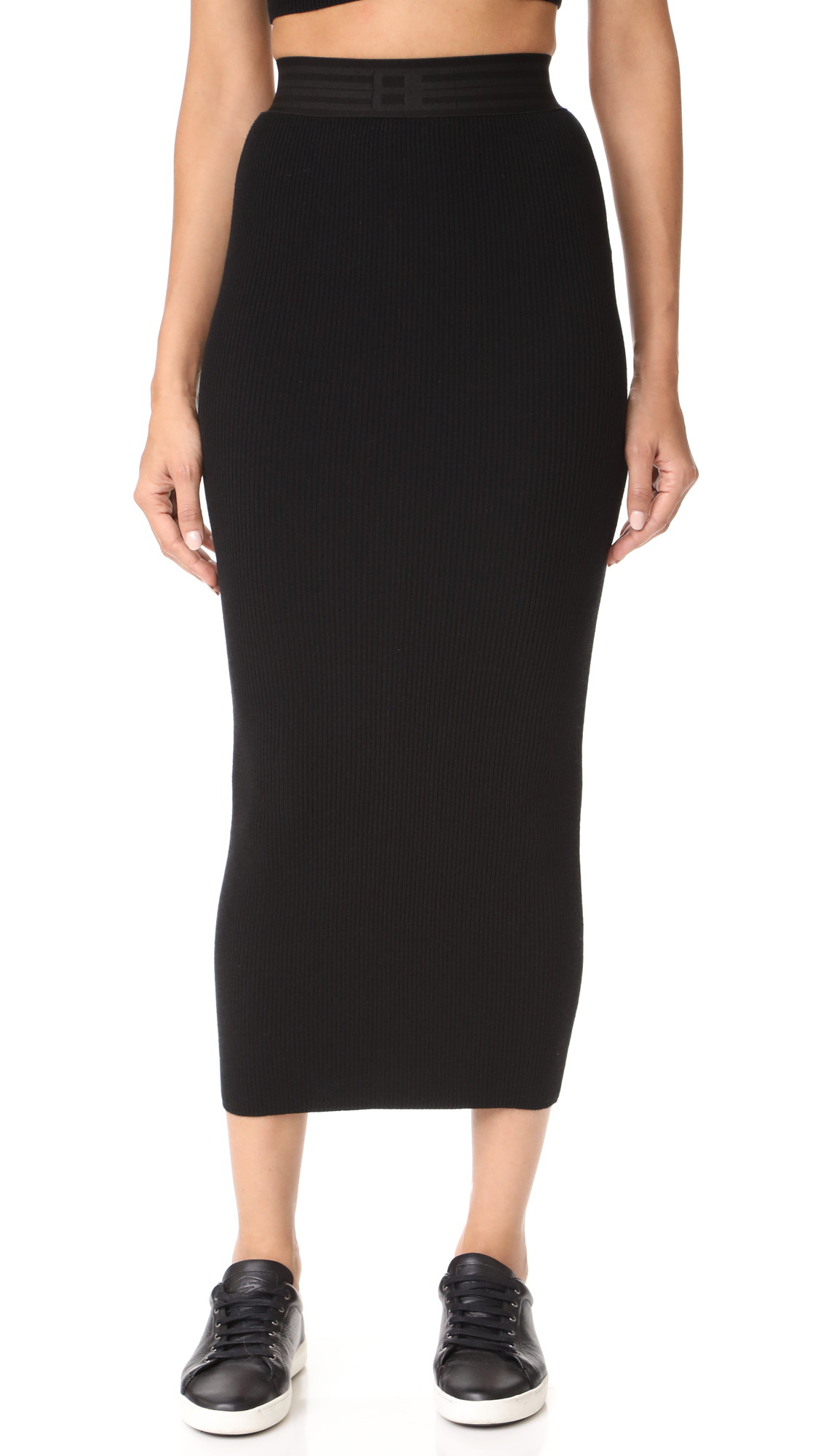 Baja East Ribbed Knit Skirt - Black