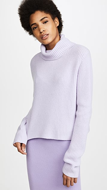 Baja East Cropped Slouch Neck Sweater