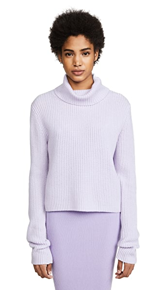 Baja East Cropped Slouch Neck Sweater In Lilac