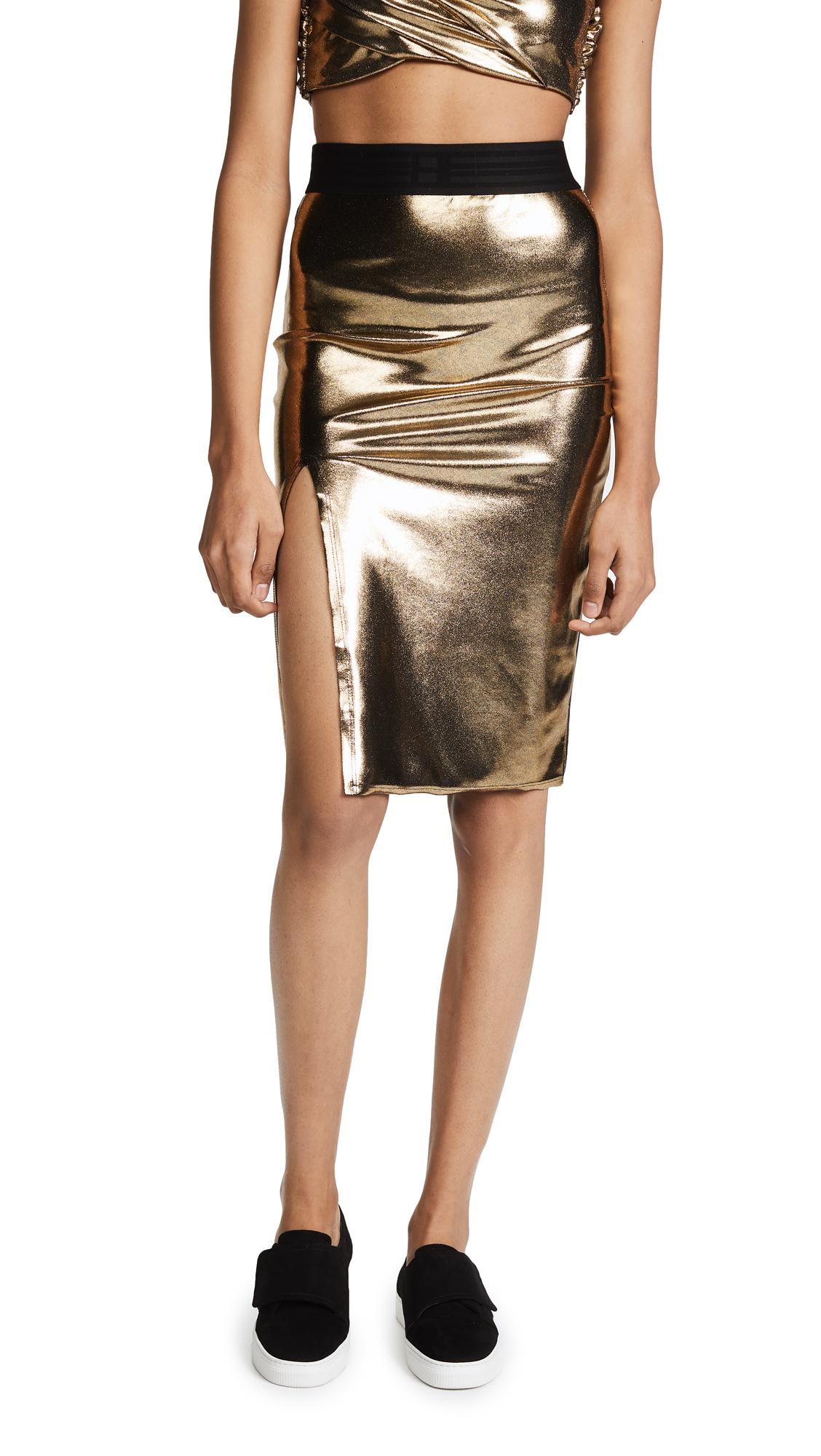 Baja East Slit Midi Skirt - Gold
