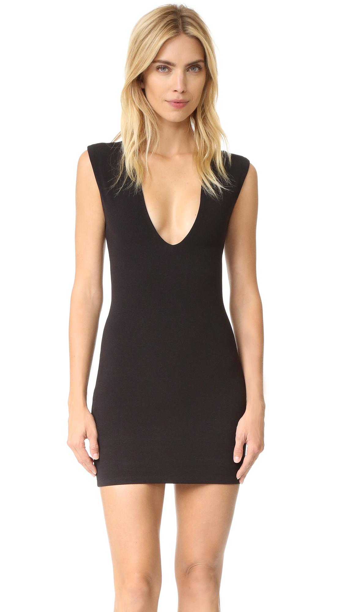 Bec & Bridge Reversible Rib V Dress - Black