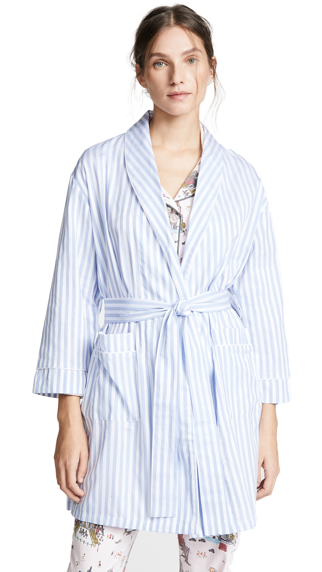 Fabric: Plain weave Piping trim Striped print Long sleeves Self-belt at waist Patch front pockets Shell: 100% cotton Wash cold Made in the USA of imported materials Measurements Measurements from size S/M Length: 33.75in / 86cm, from shoulder