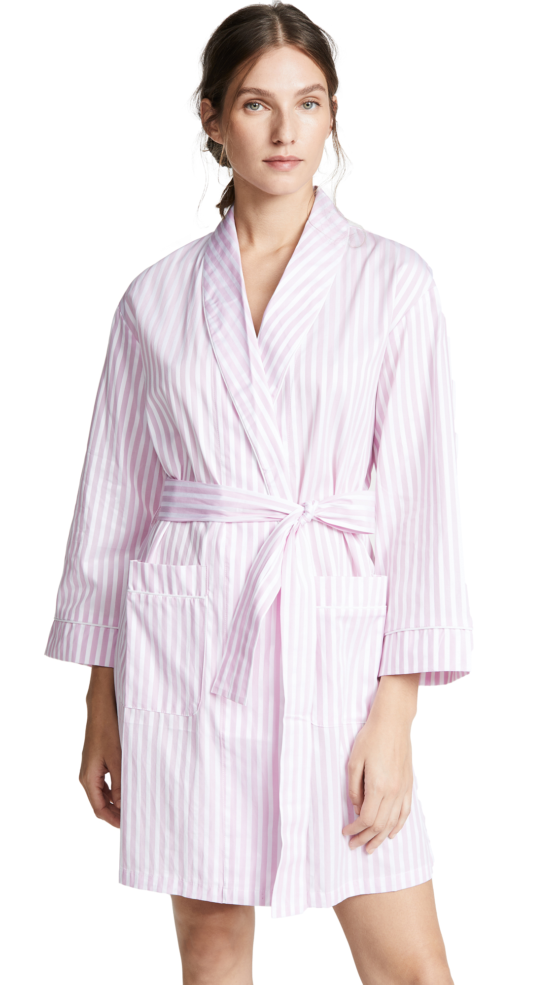 Fabric: Plain weave Piping trim Stripe pattern Long sleeves Self-belt at waist Patch front pockets Shell: 100% cotton Wash cold Made in the USA of imported materials Measurements Measurements from size S/M Length: 33.75in / 86cm, from shoulder