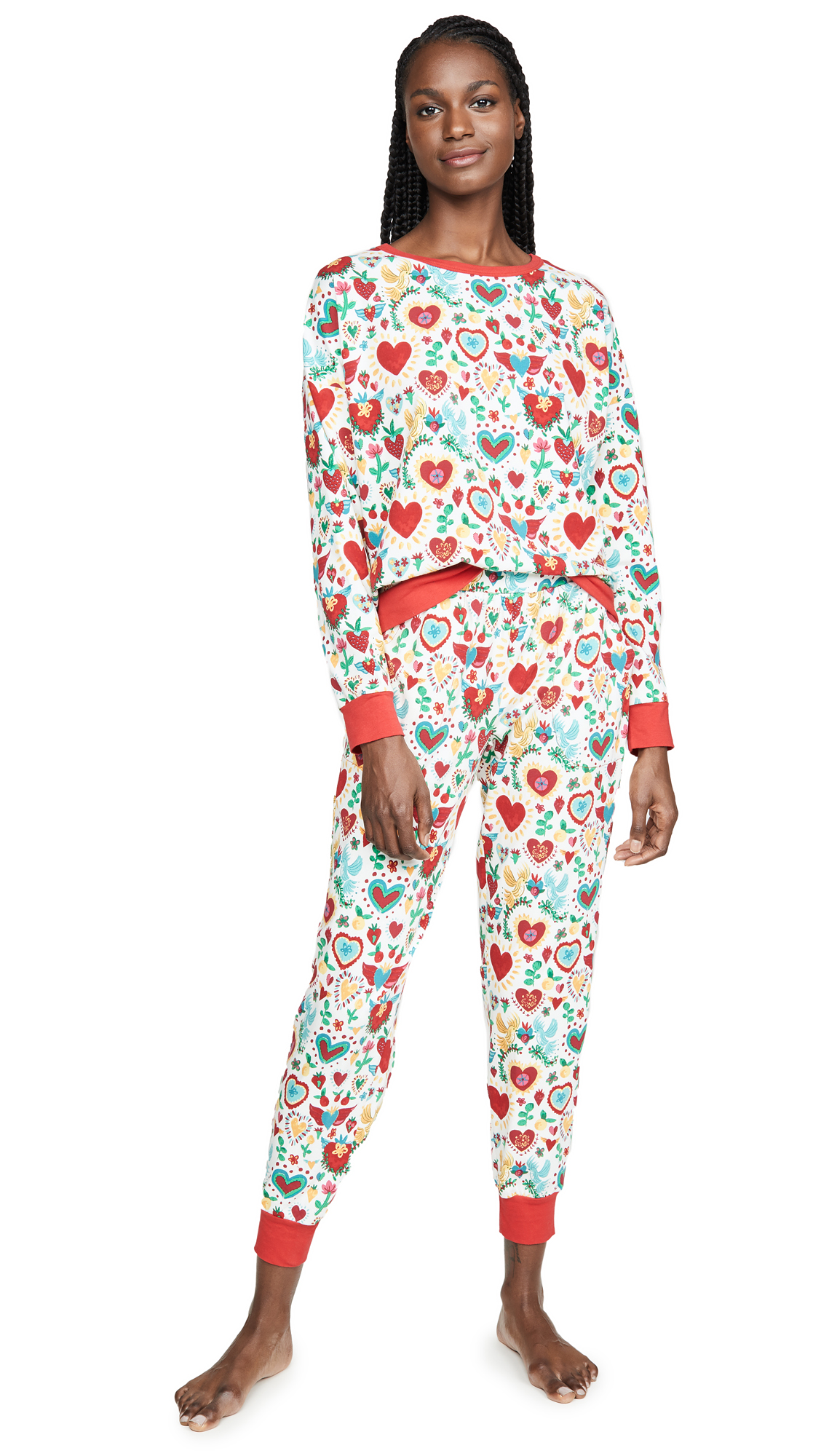 Buy BedHead Pajamas online - photo of BedHead Pajamas Sacred Hearts Pullover Crew & Joggers Set