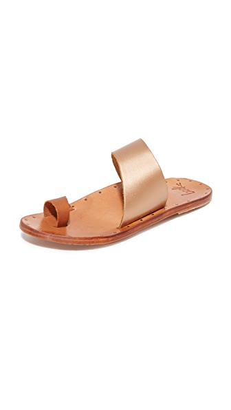 beek Finch Toe Ring Slides - Rose Gold/Tan