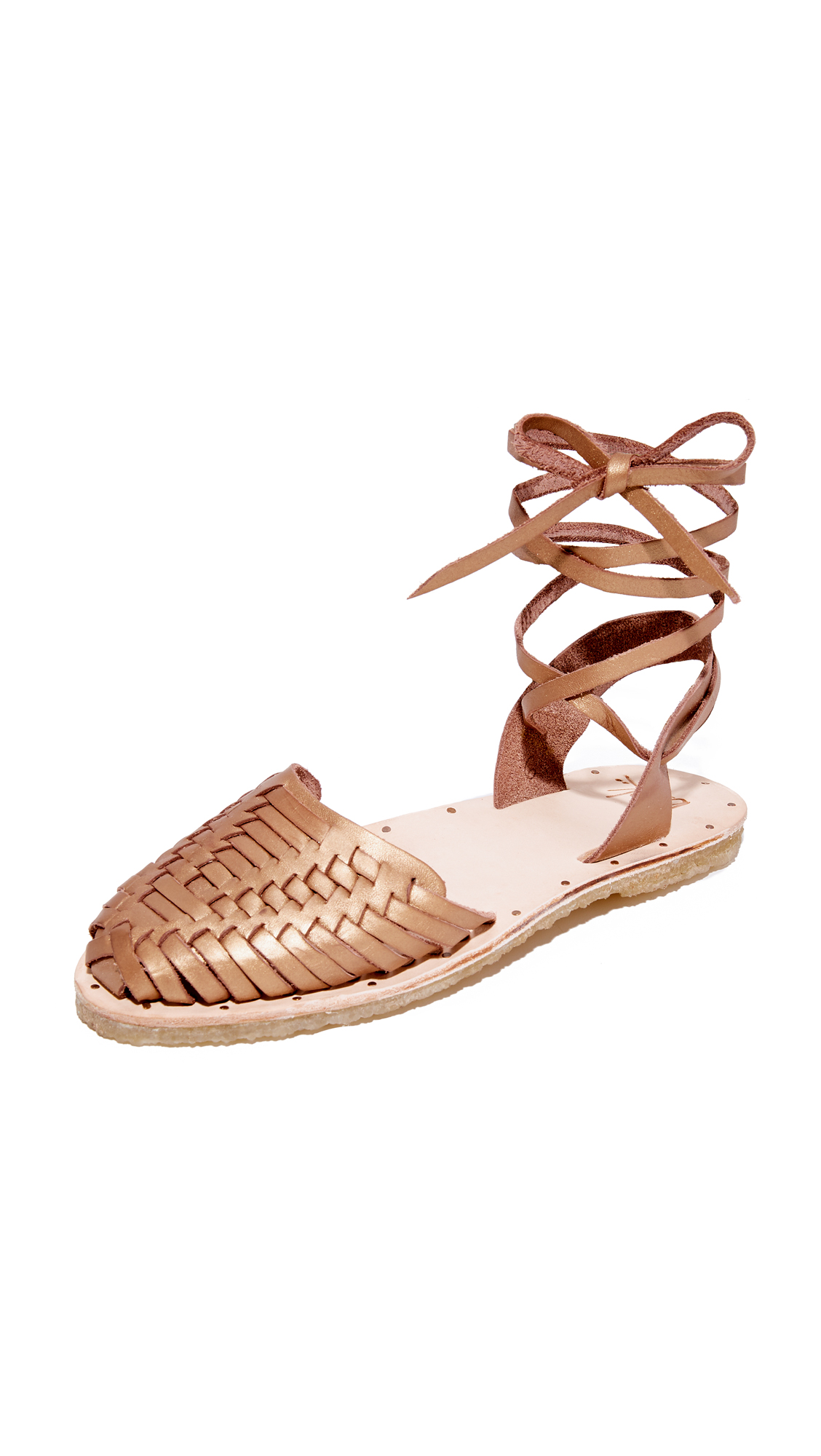 beek Parakeet Wrap Sandals - Bronze/Natural