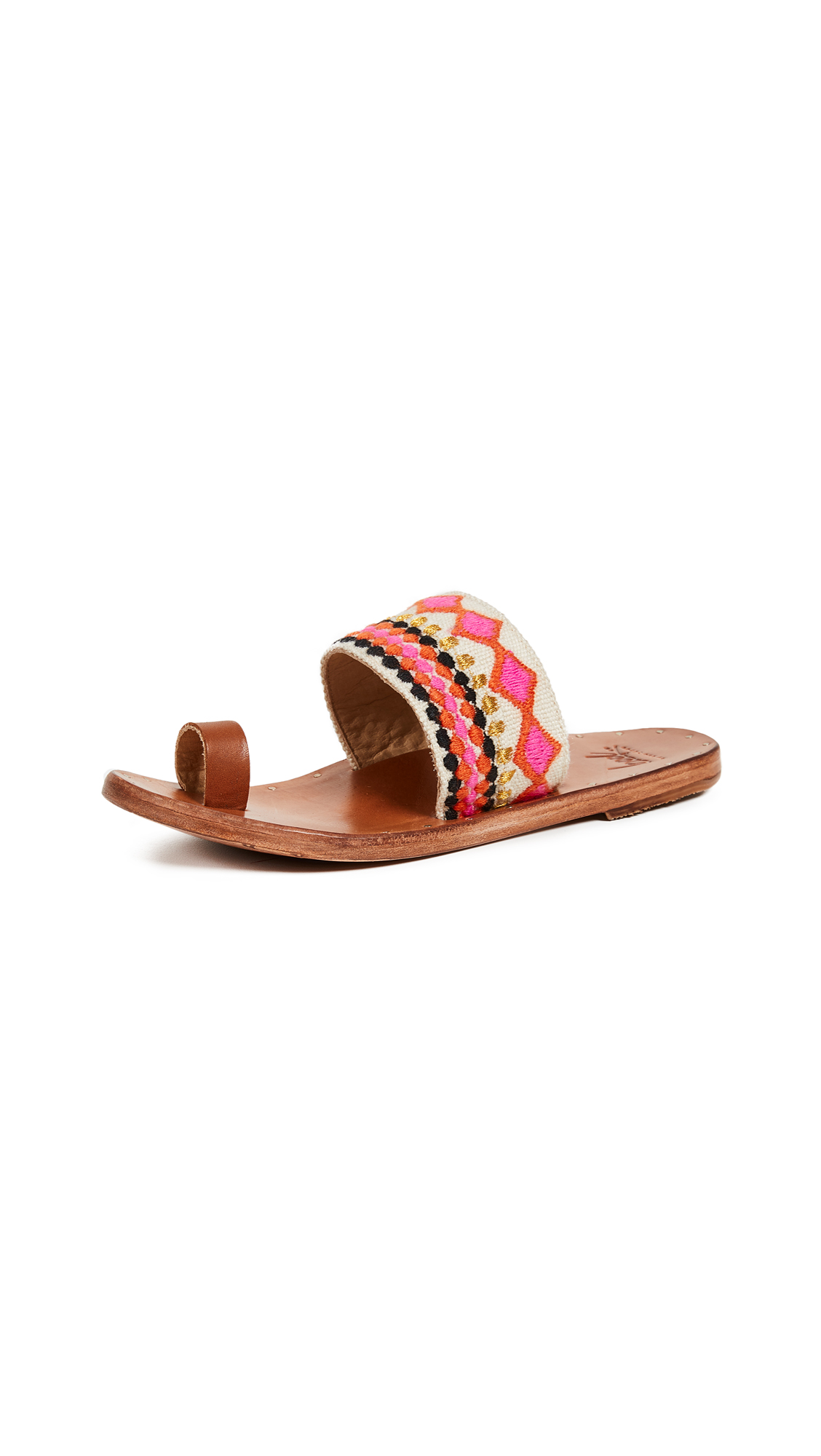 beek Dove Toe Ring Slides - Fuchsia Multi/Tan