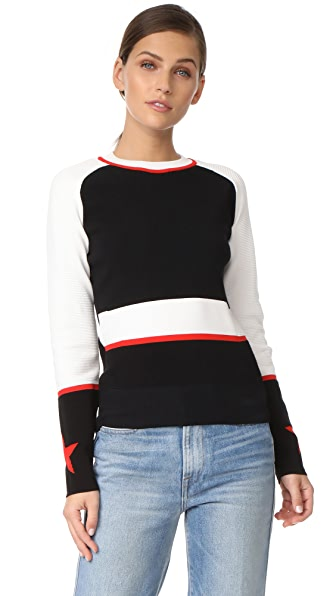 Belstaff Sinead Star Sweater - White/Black/Lava Red