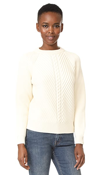 Belstaff Shandi Clean Merino Wool Cable Sweater - Off White