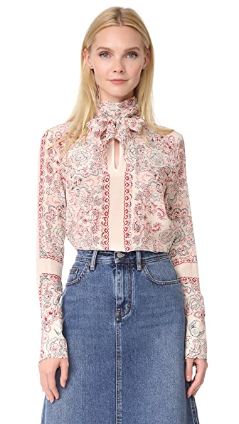 Belstaff Alene Printed Silk Top - Natural