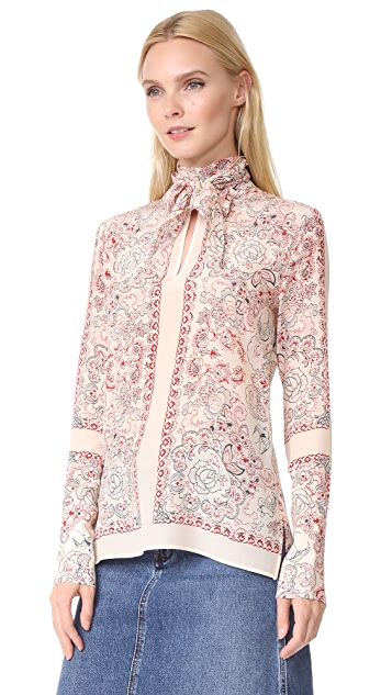 Belstaff Alene Printed Silk Top