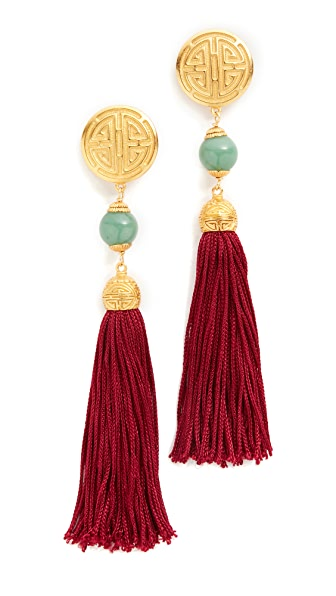 Ben-Amun Jade Tassel Earrings