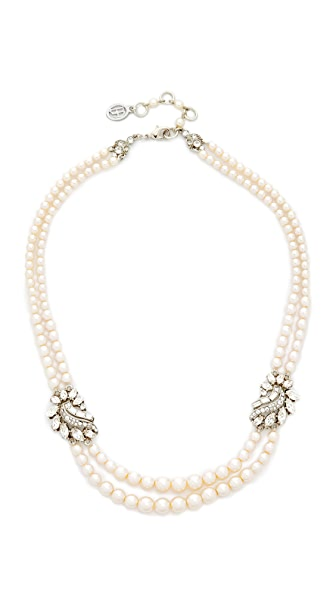 Ben-Amun Two Row Imitation Pearl Cluster Necklace - Pearl/Silver