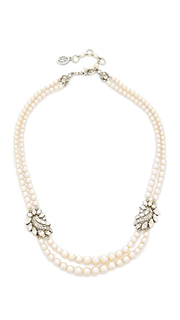 Ben-Amun Two Row Imitation Pearl Cluster Necklace