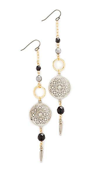 Ben-Amun Circle Drop Fishook Earrings - Silver/Gold/Jet
