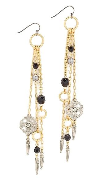 Ben-Amun Fringe Drop Fishhook Earrings In Silver/Gold/Jet