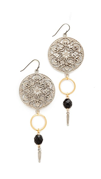 Ben-Amun Round Top Drop Single Fishook Earrings - Silver/Gold/Jet