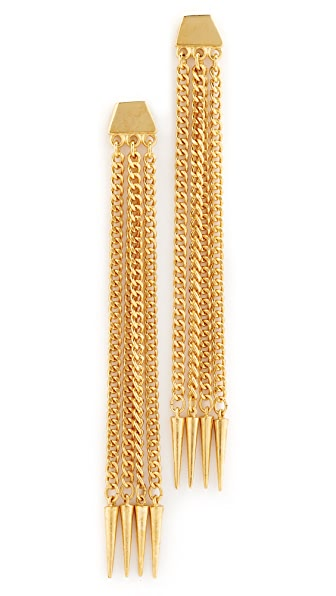 Ben-Amun Six Chain Drop Earrings In Gold