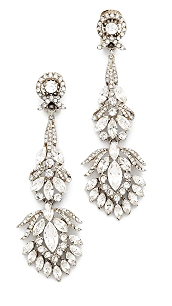 Ben-Amun Crystal Clip On Peacock Earrings - Silver/Clear