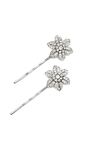 Ben-Amun Floral Bobby Pin Set of Two - Clear/Silver
