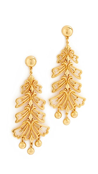 Ben-Amun Leaf Long Earrings - Gold
