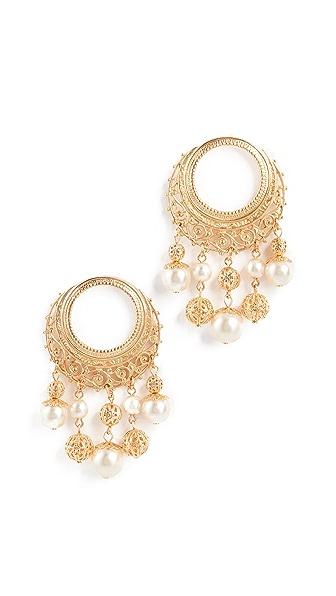 Ben-Amun Earrings with Multi Imitation Pearl Drop In Gold/Pearl