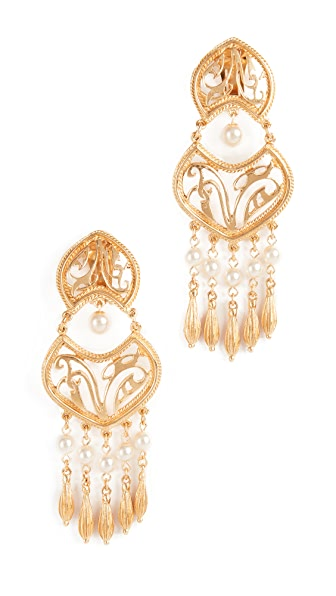 Ben-Amun Clip On Earrings with Glass Pearl Drops In Gold/Pearl