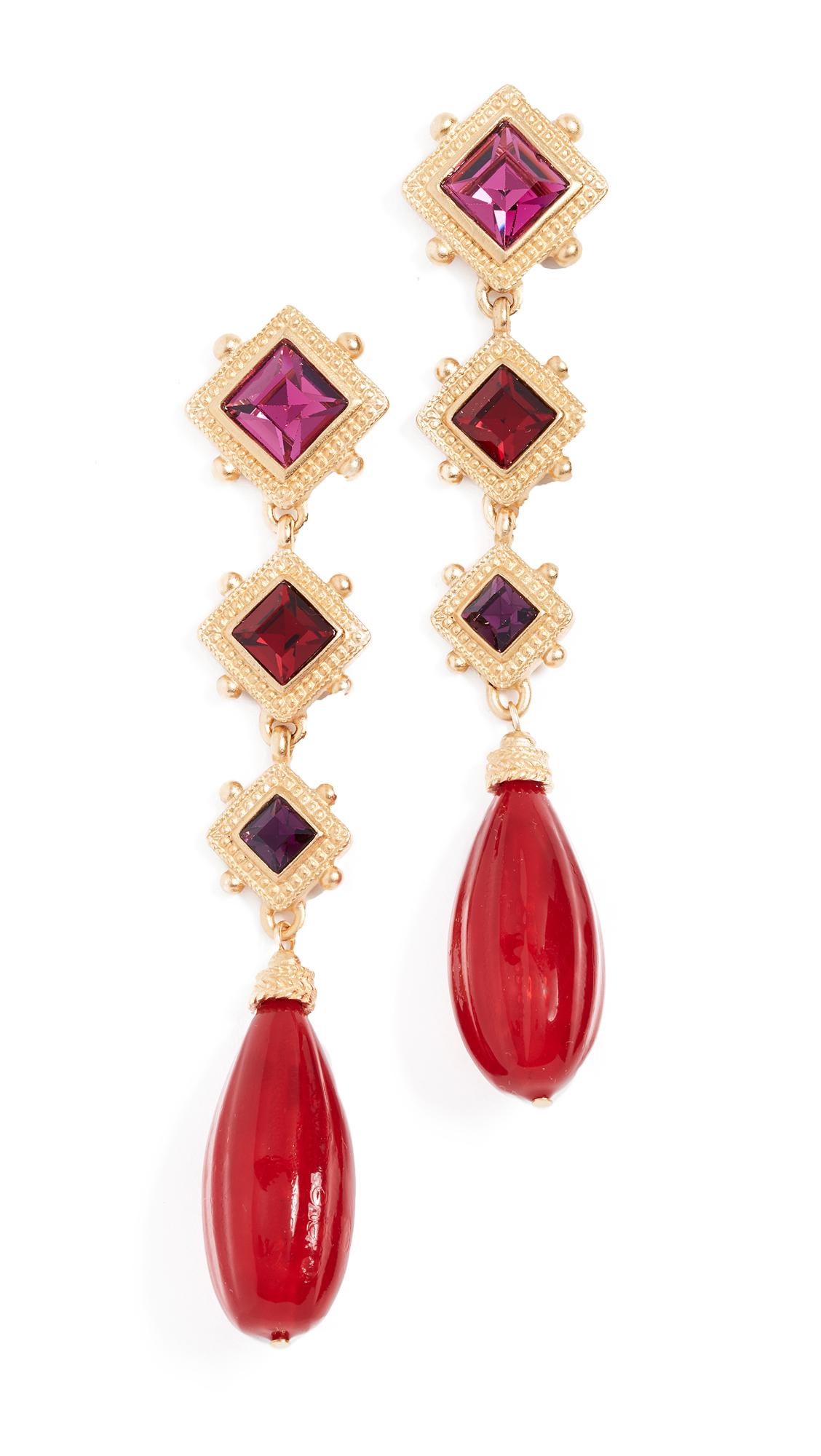 Arielle Earrings, Red/Gold