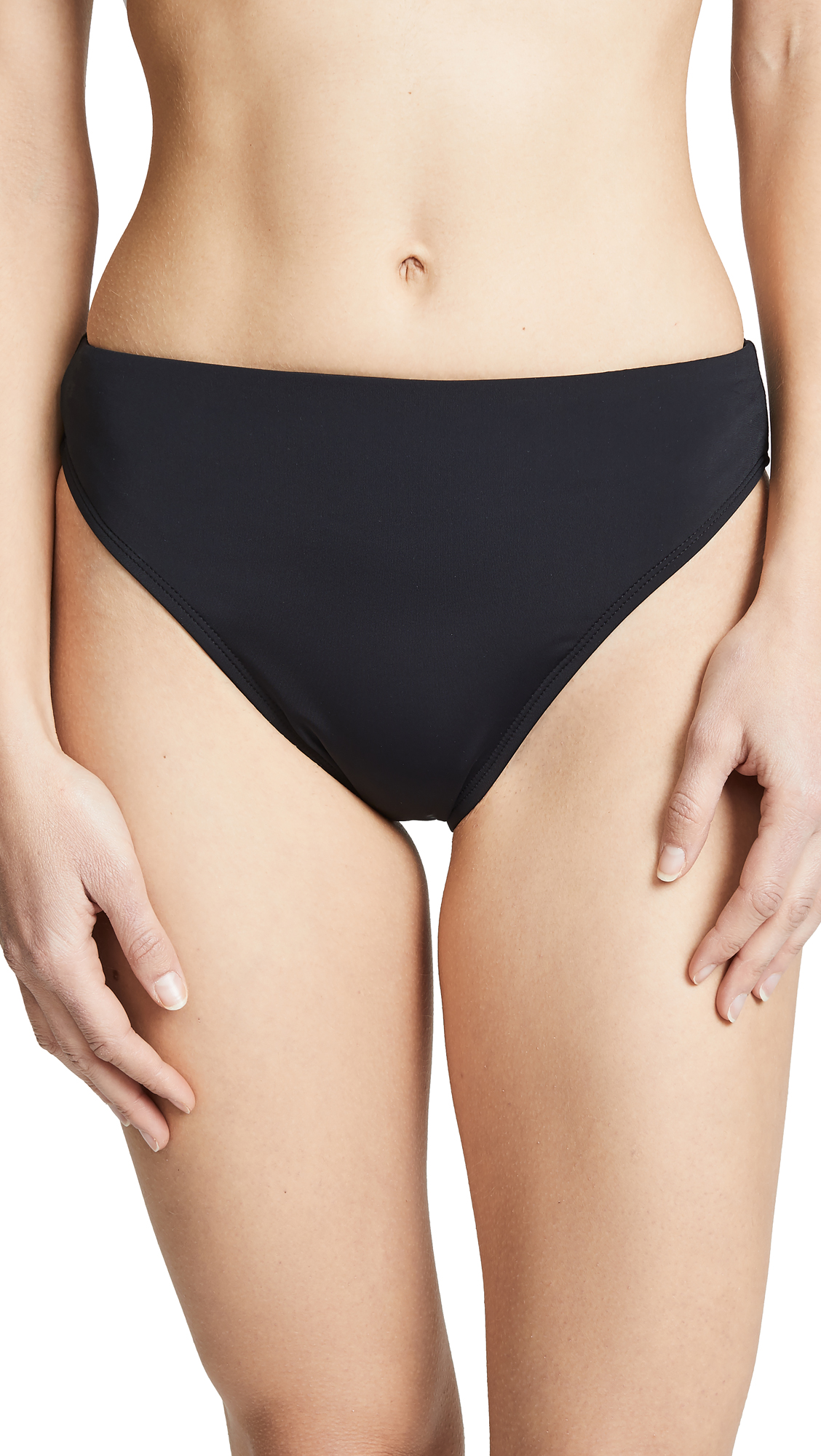 BETH RICHARDS Heather High Waist Bikini Bottoms in Black