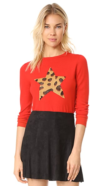 Bella Freud Iggy Leopard Star Sweater - Red