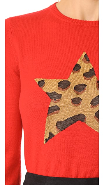 Bella Freud Iggy Leopard Star Sweater