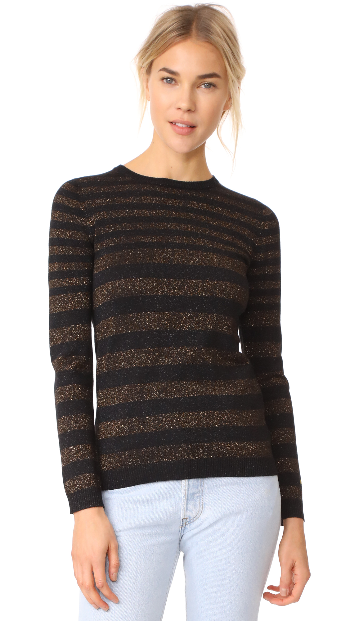 Bella Freud Deep Disco Stripe Jumper - Black/Bronze
