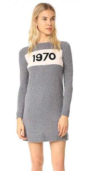 Bella Freud 1970 Crew Neck Dress In Heather Grey