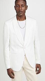 BOSS Hugo Boss White Shawl Collar Linen Blend Sportcoat