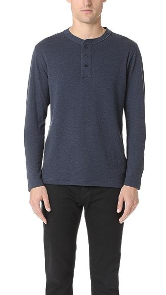 Billy Reid Cullman Navy Blue Henley Shirt