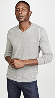 Billy Reid Contrast Stitch V Neck Sweater
