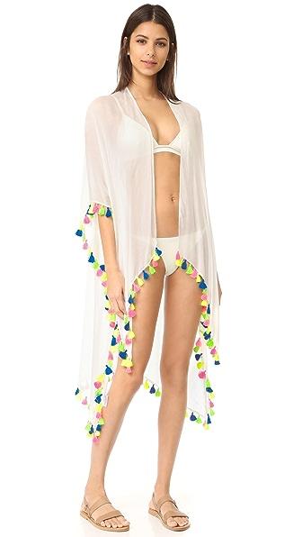 Bindya Neon Tassel Kimono - White