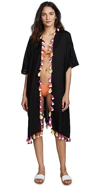 Bindya Double Tassel Kimono In Black