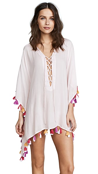 BINDYA Double Tassel Lace Up Tunic in Light Pink