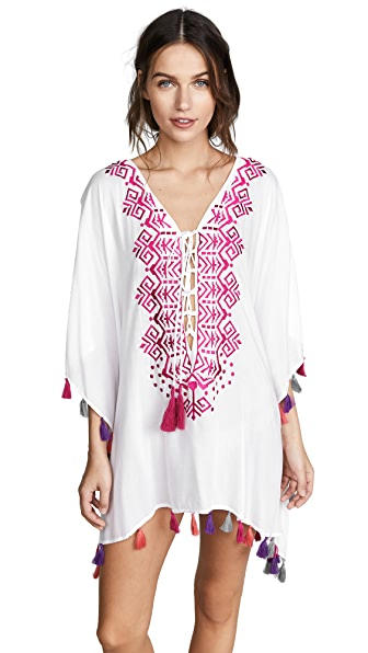 Bindya Provence Lace Up Tunic In Pink