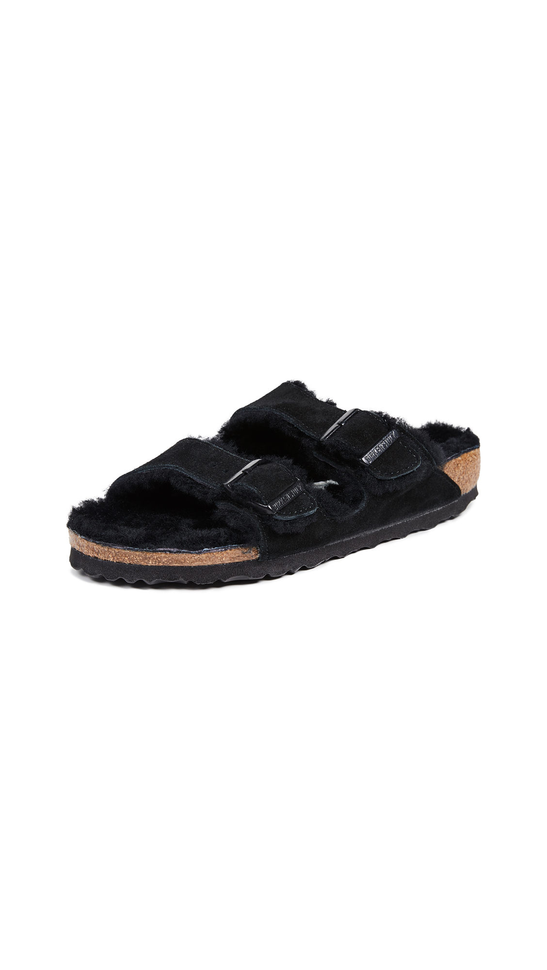 Birkenstock Arizona Soft Footbed Suede Leather Shearling Black Narrow Fitting Sandals