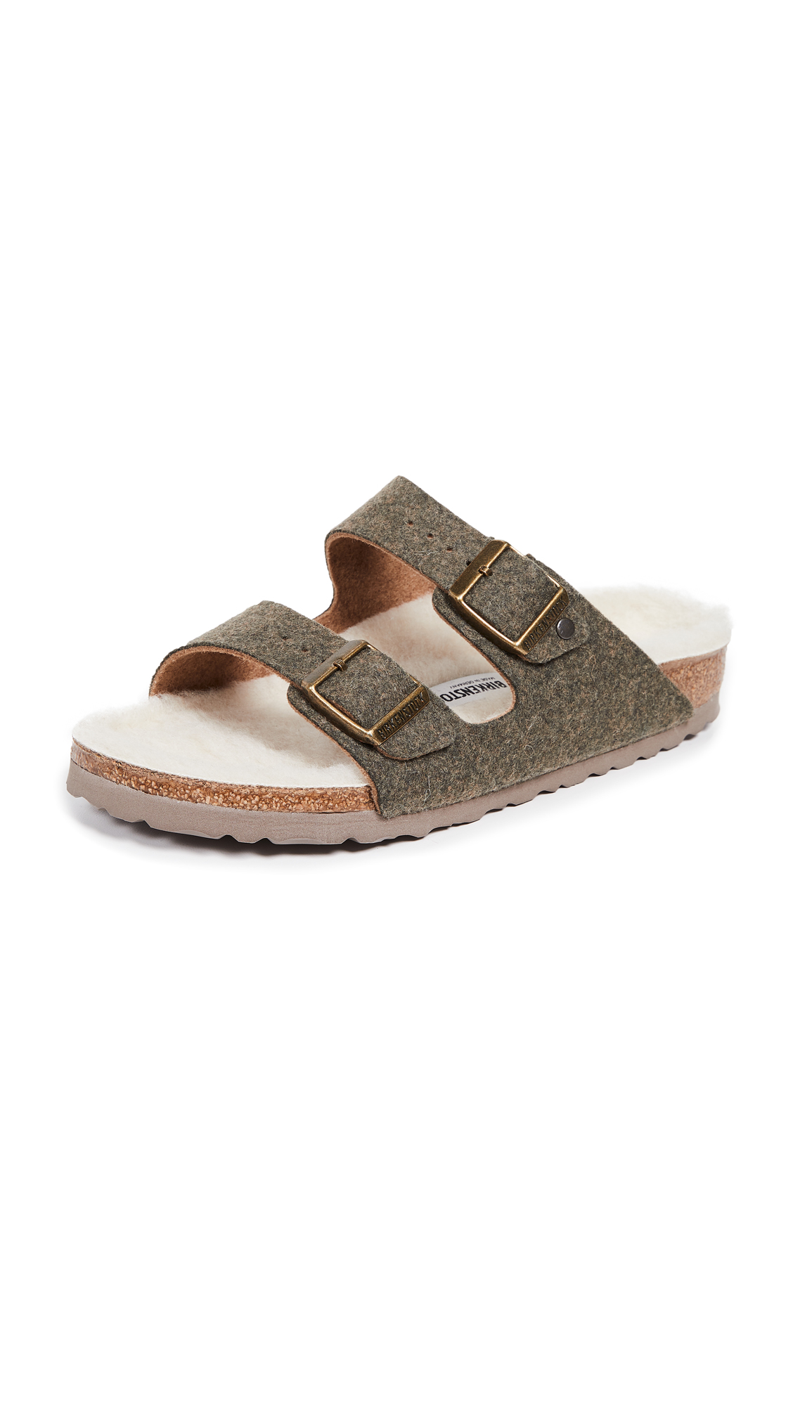 Birkenstock Arizona Happy Lamb Sandals - Double-Face Khaki