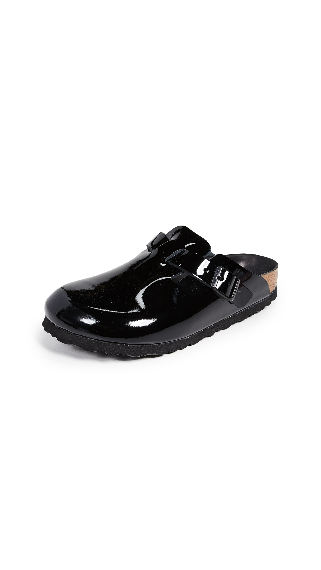 Birkenstock Boston Black Patent Clogs - Black