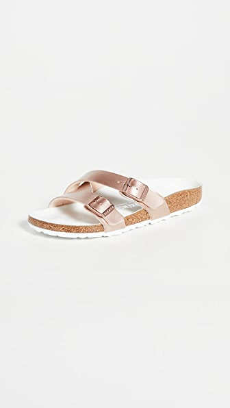 Birkenstock Yao Metallic Slide Sandal In Metallic Copper