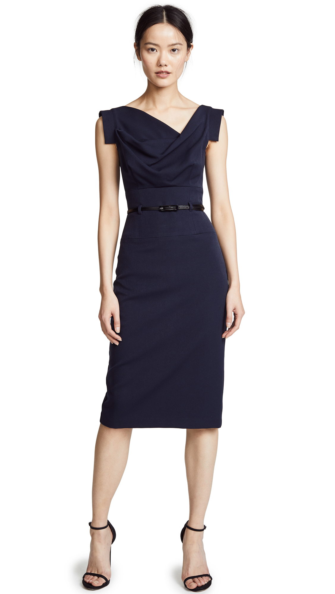 Black Halo Jackie O Belted Dress - Eclipse