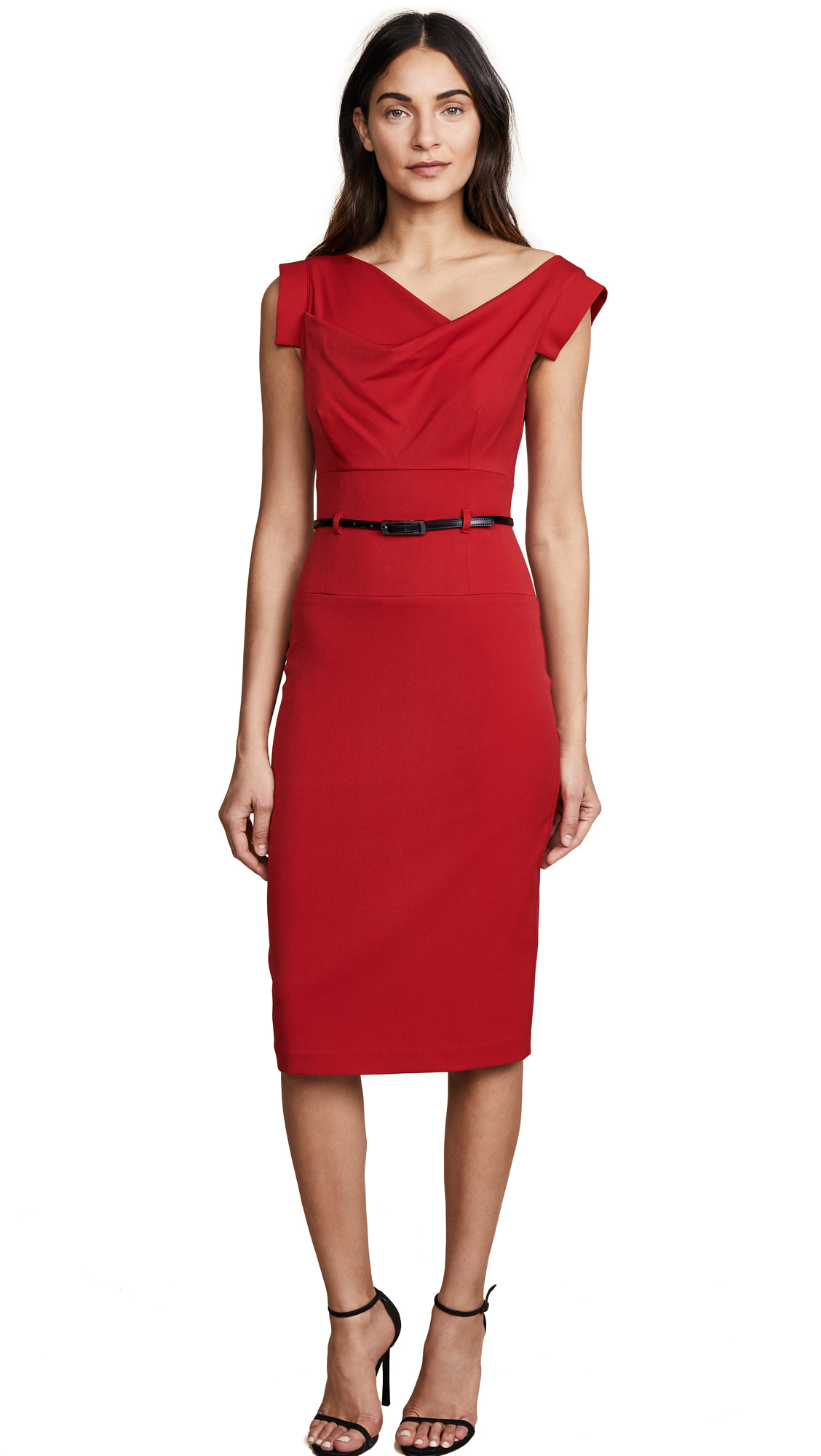 Black Halo Jackie O Belted Dress - Red