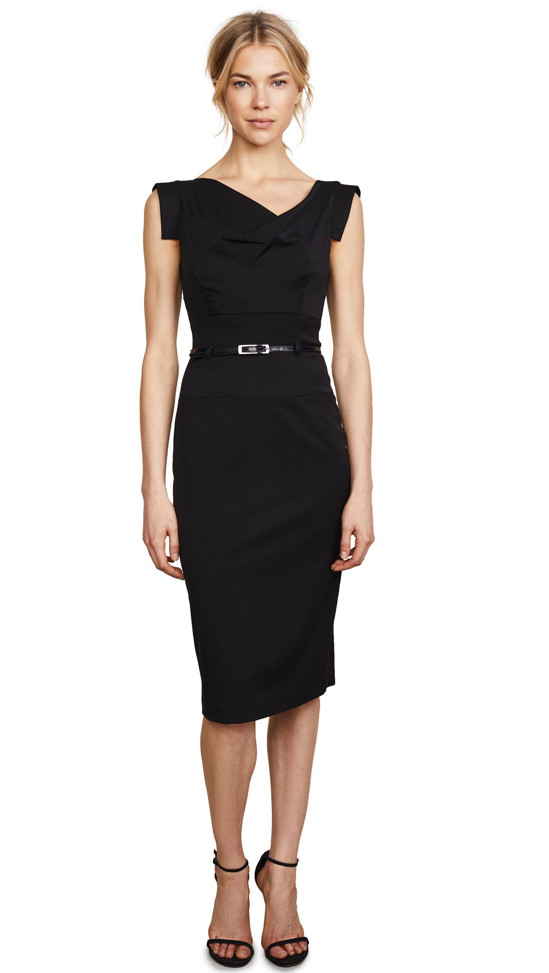 Black Halo Jackie O Belted Dress - Black
