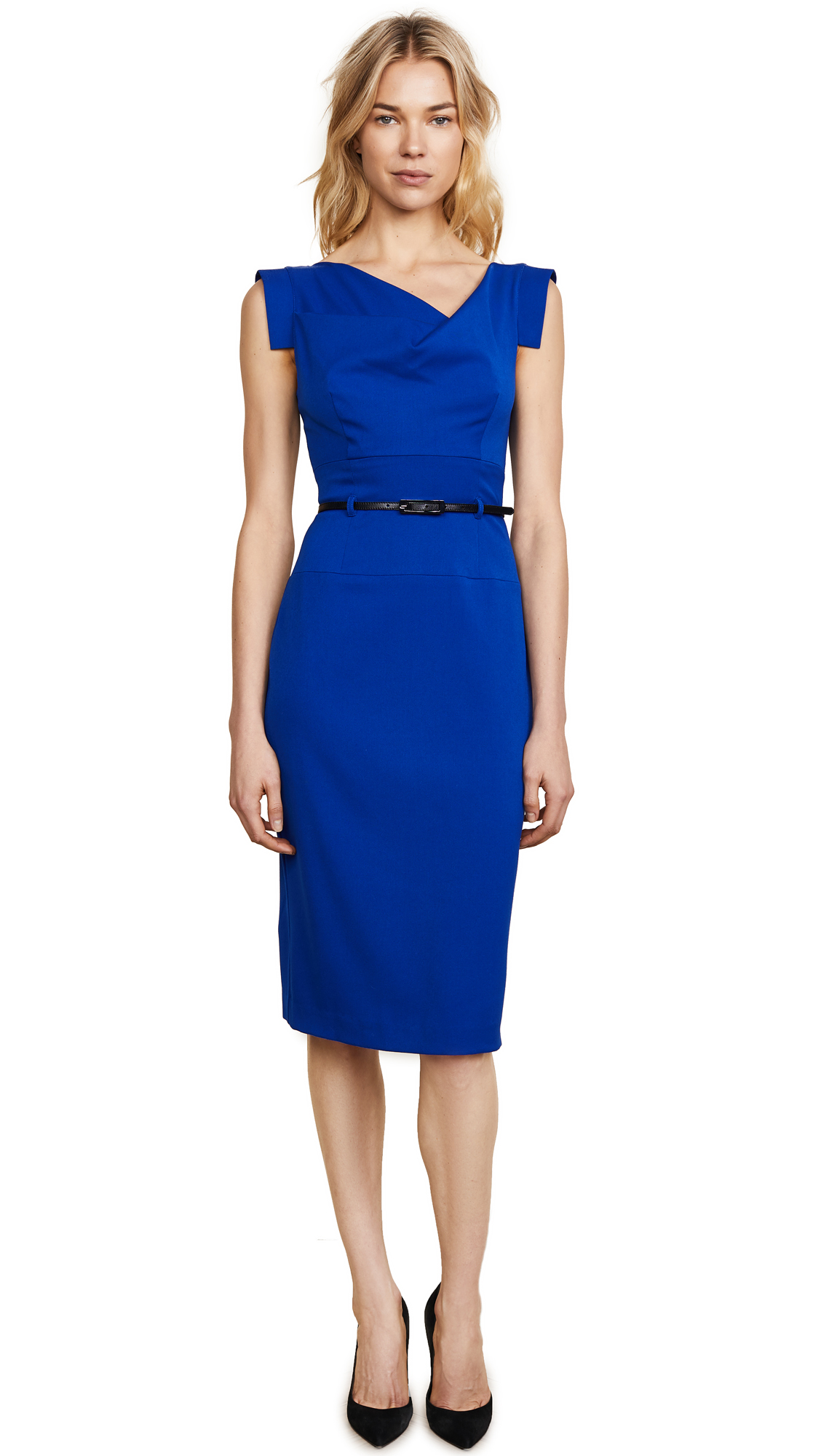 Black Halo Jackie O Belted Dress - Cobalt