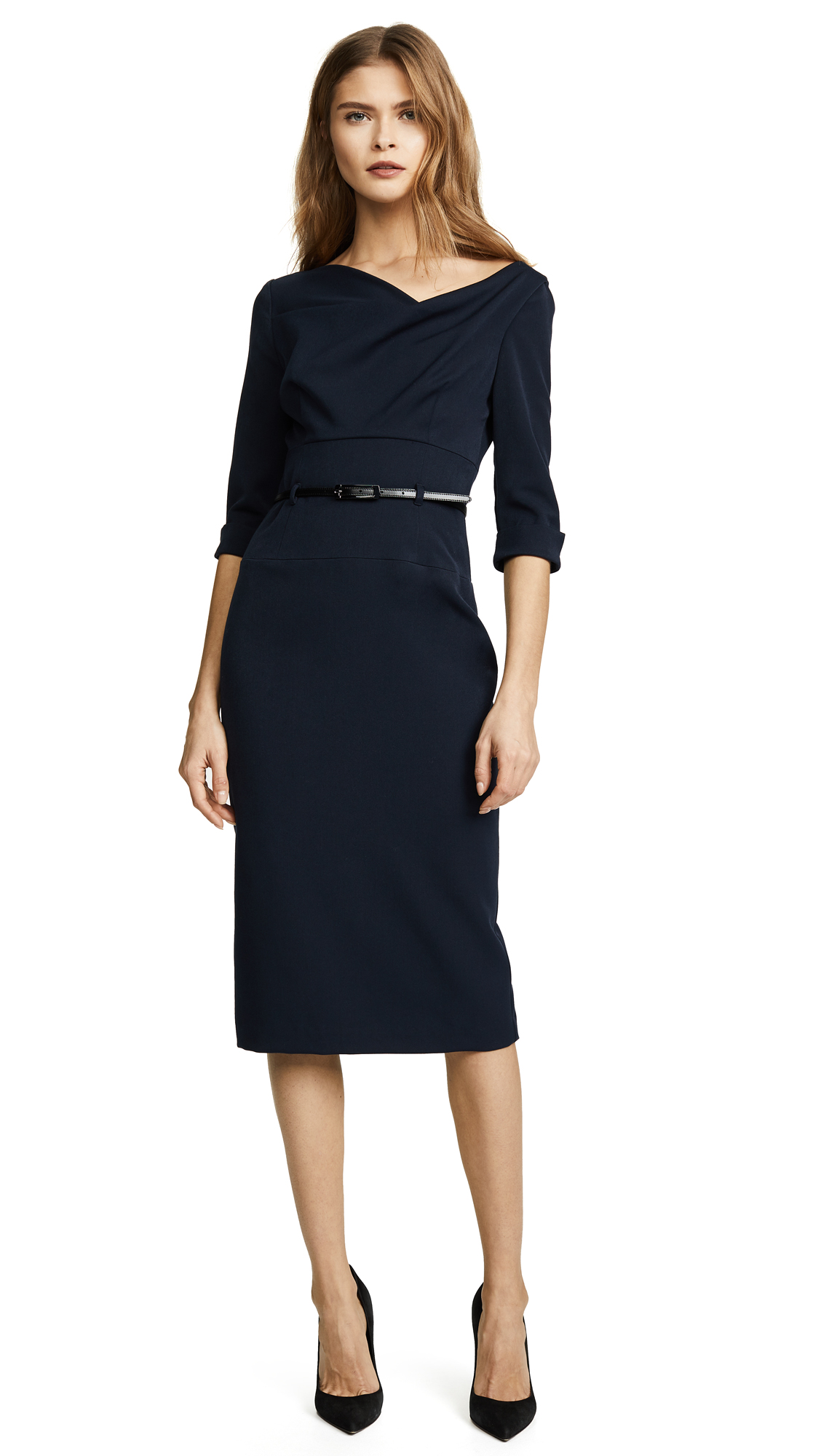 Black Halo 3/4 Sleeve Jackie O Dress - Eclipse